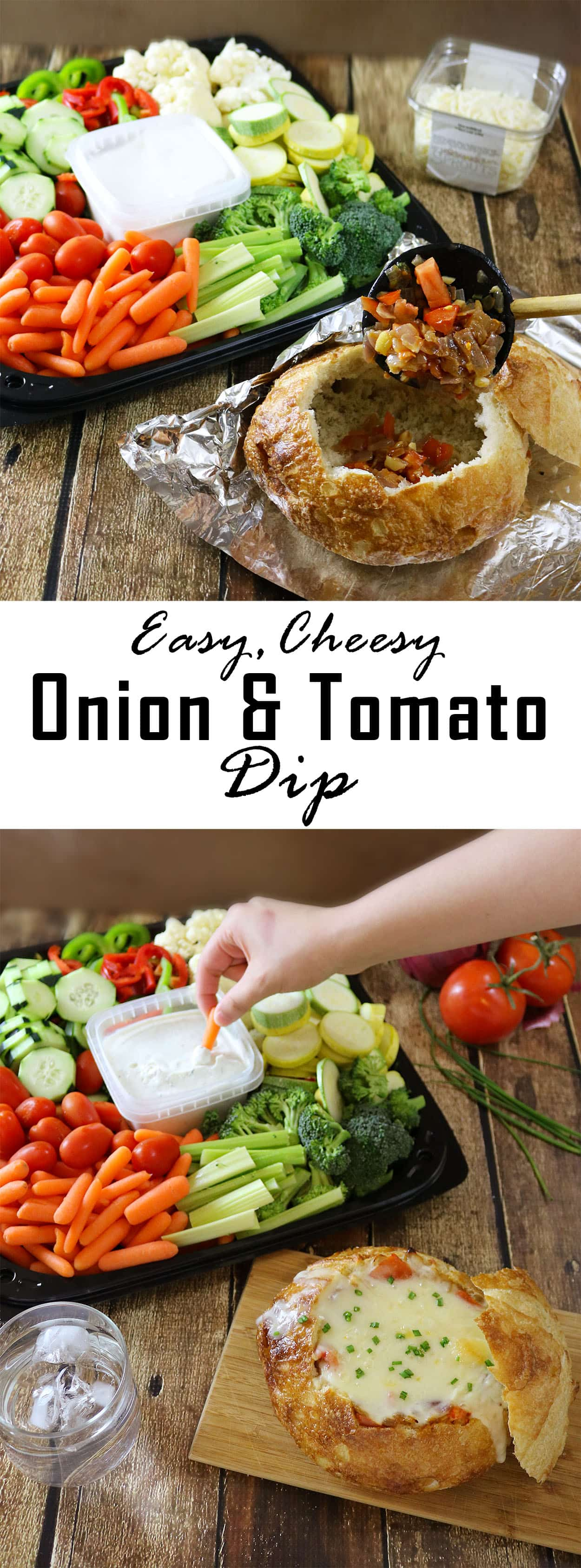 Cheesy Onion Tomato Dip