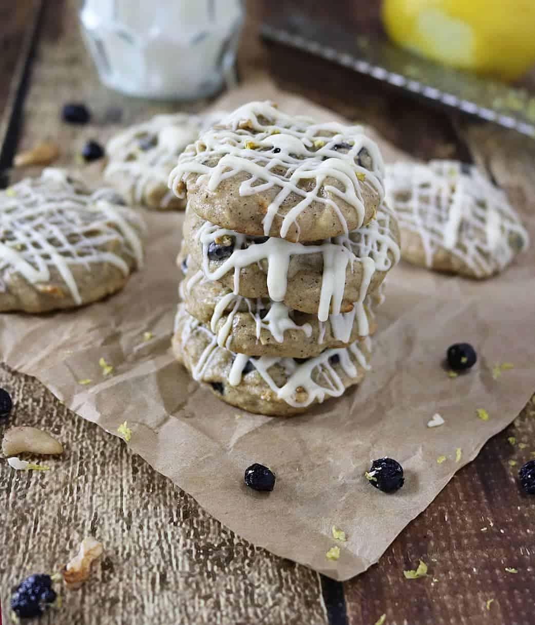 Lemon Blueberry Cookies {Flourless}