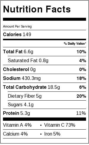 Red Pepper Hummus Nutrition Label