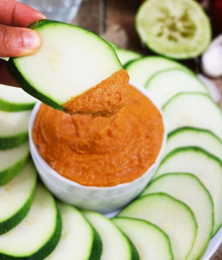 Roasted Red Pepper & Garlic Hummus - Tahini-Free