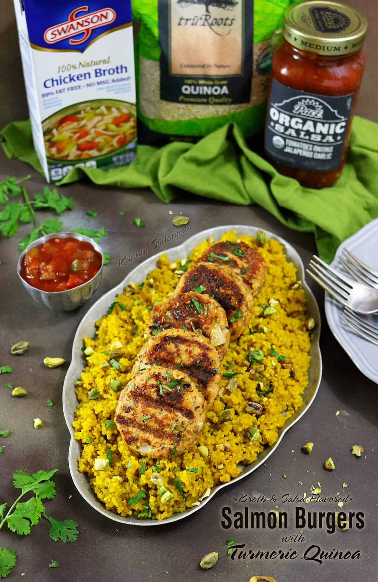 Broth & Salsa Flavored Salmon Burgers with Turmeric Quinoa #BlockPartyHero #ad