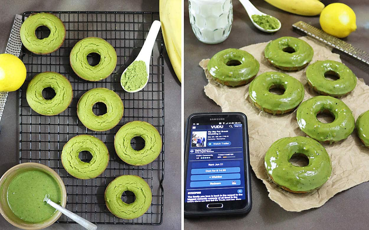 Matcha Banana Donuts With Matcha Lemon Glaze