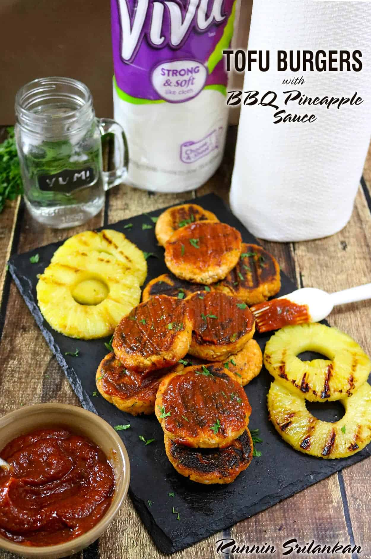 Tofu Burgers With Pineapple BBQ Sauce #VIVACleansLikeCloth #ad