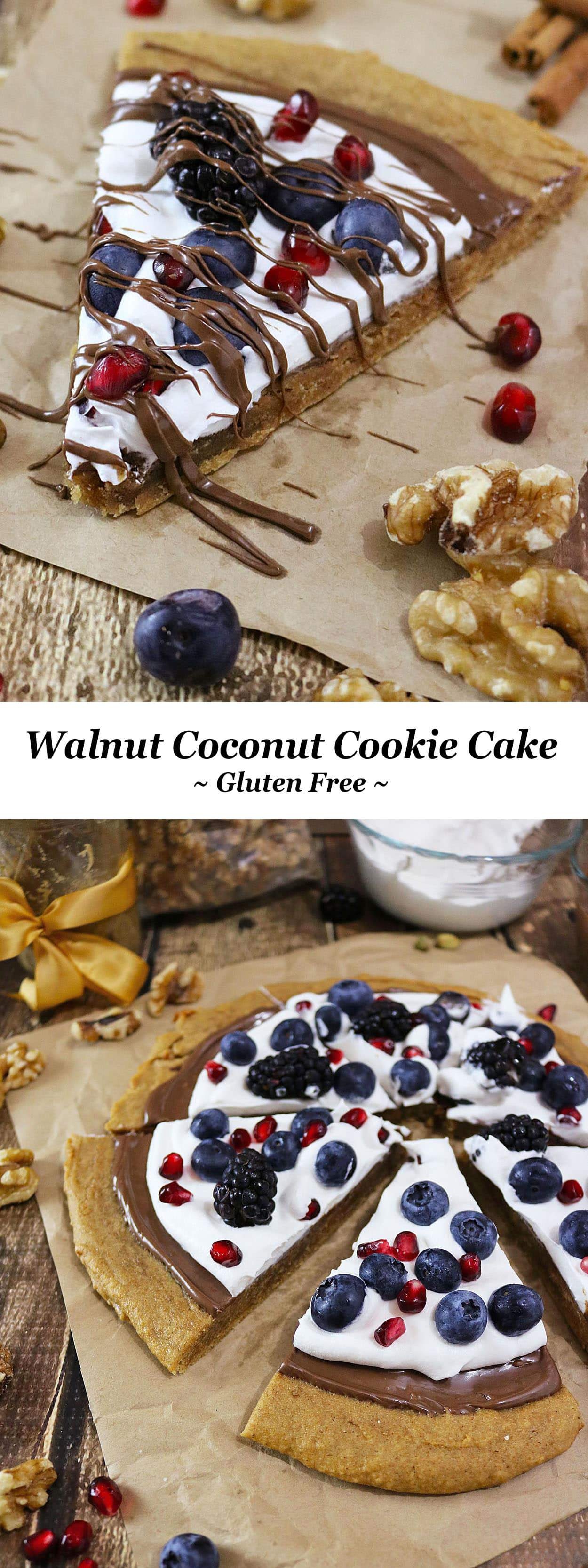 Spiced Walnut Coconut Cookie Cake with chocolate, blueberries and pomegranate - perfect for the fourth of July