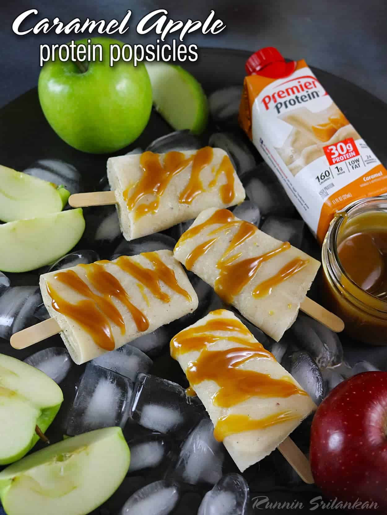Caramel Apple Protein Popsicles - 3 ingredients and healthy too!