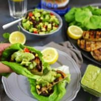 Alaskan Pollock Burgers In Lettuce Wraps with Celery Avocado Salsa and Horseradish Sauce