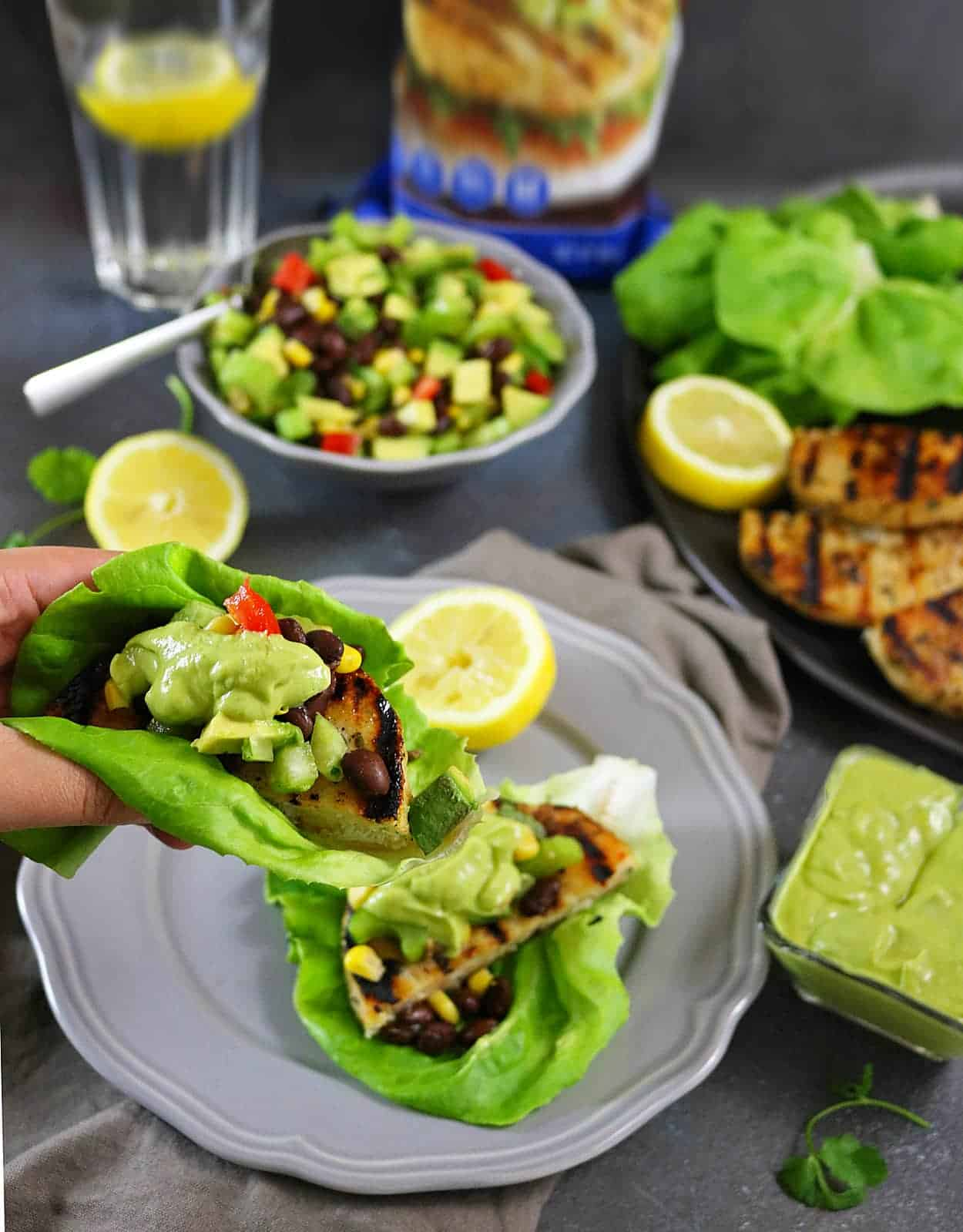 Pollock Burgers In Lettuce Wraps With Celery Avocado Salsa And Horseradish Sauce - Such a quick and tasty dinner!
