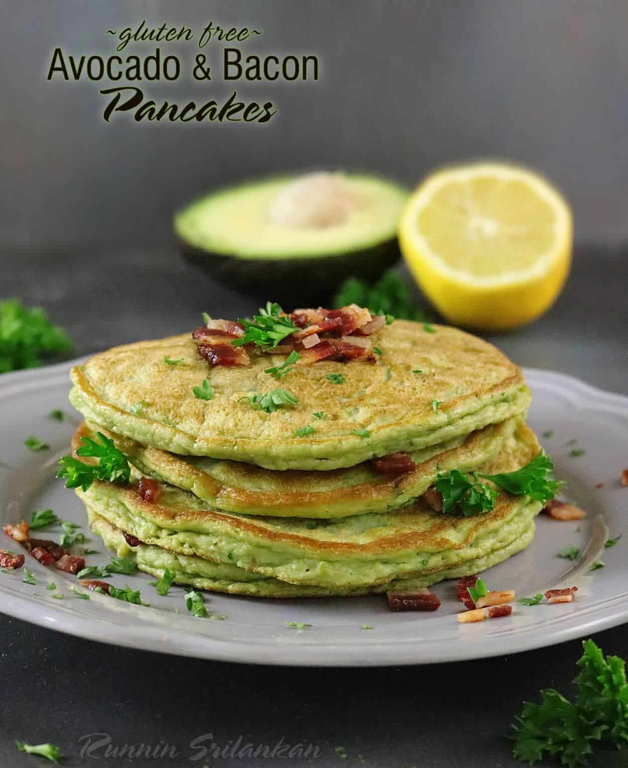 Avocado & Bacon Pancakes - The recipe for these delicious, gluten free, savory (no sugar) pancakes can be found at http://RunninSrilankan.com