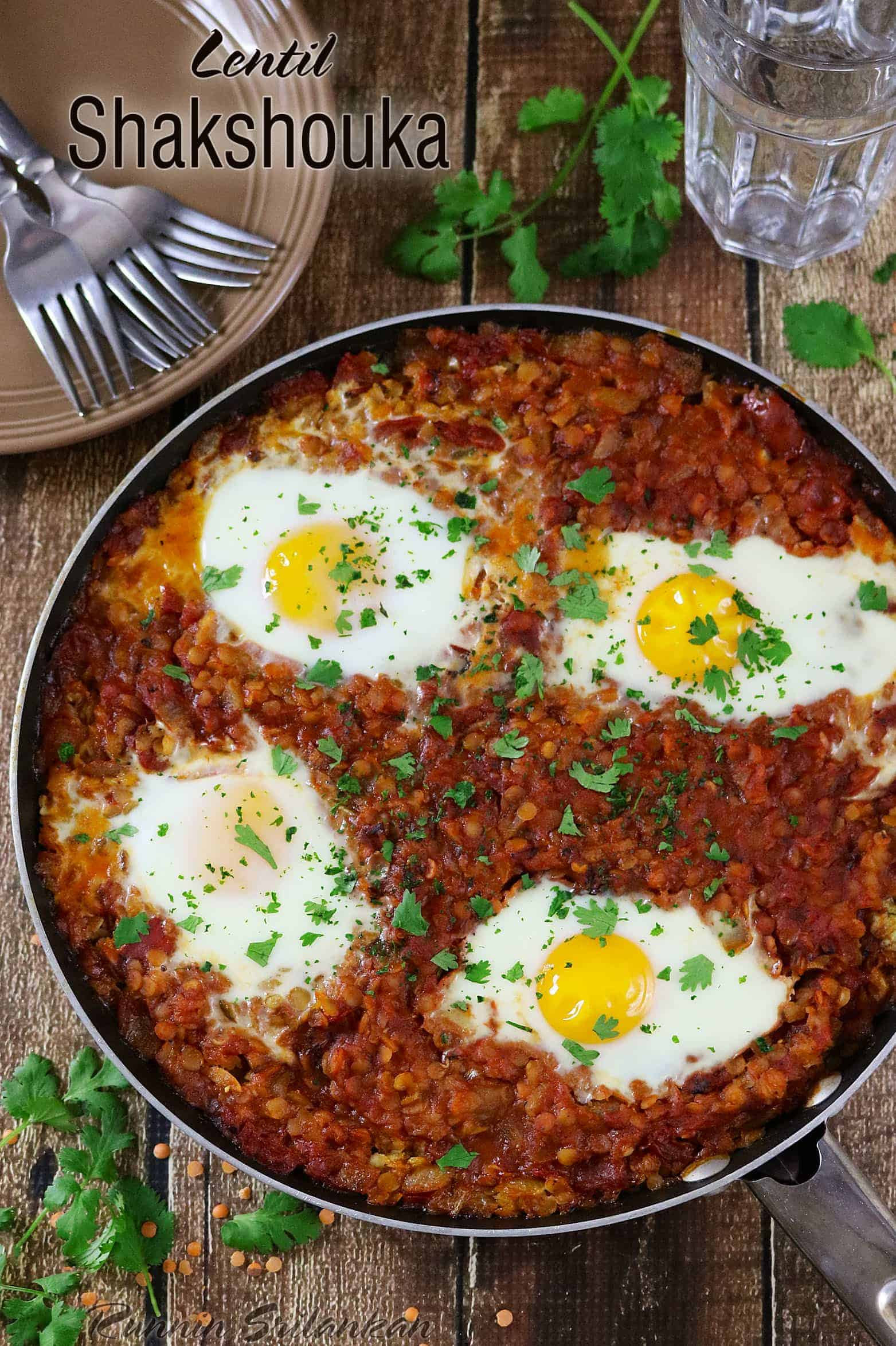 Lentil Shakshuka - a simple and hearty vegetarian dinner. Recipe can be found at http://RunninSrilankan.com