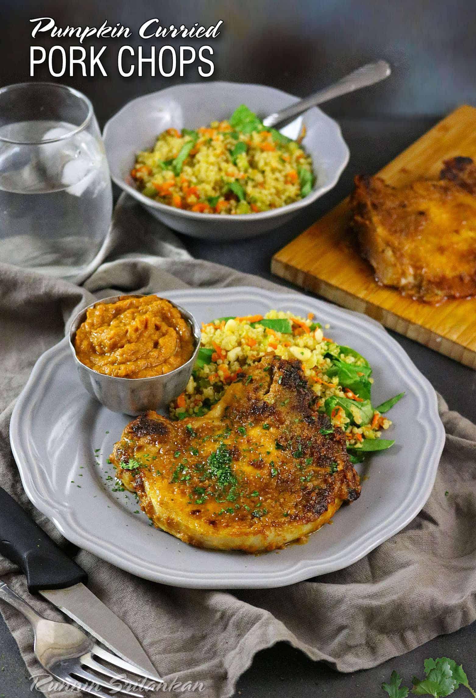 Pumpkin Curried Pork Chops #SmithfieldCares #ad Recipe at RunninSrilankan.com