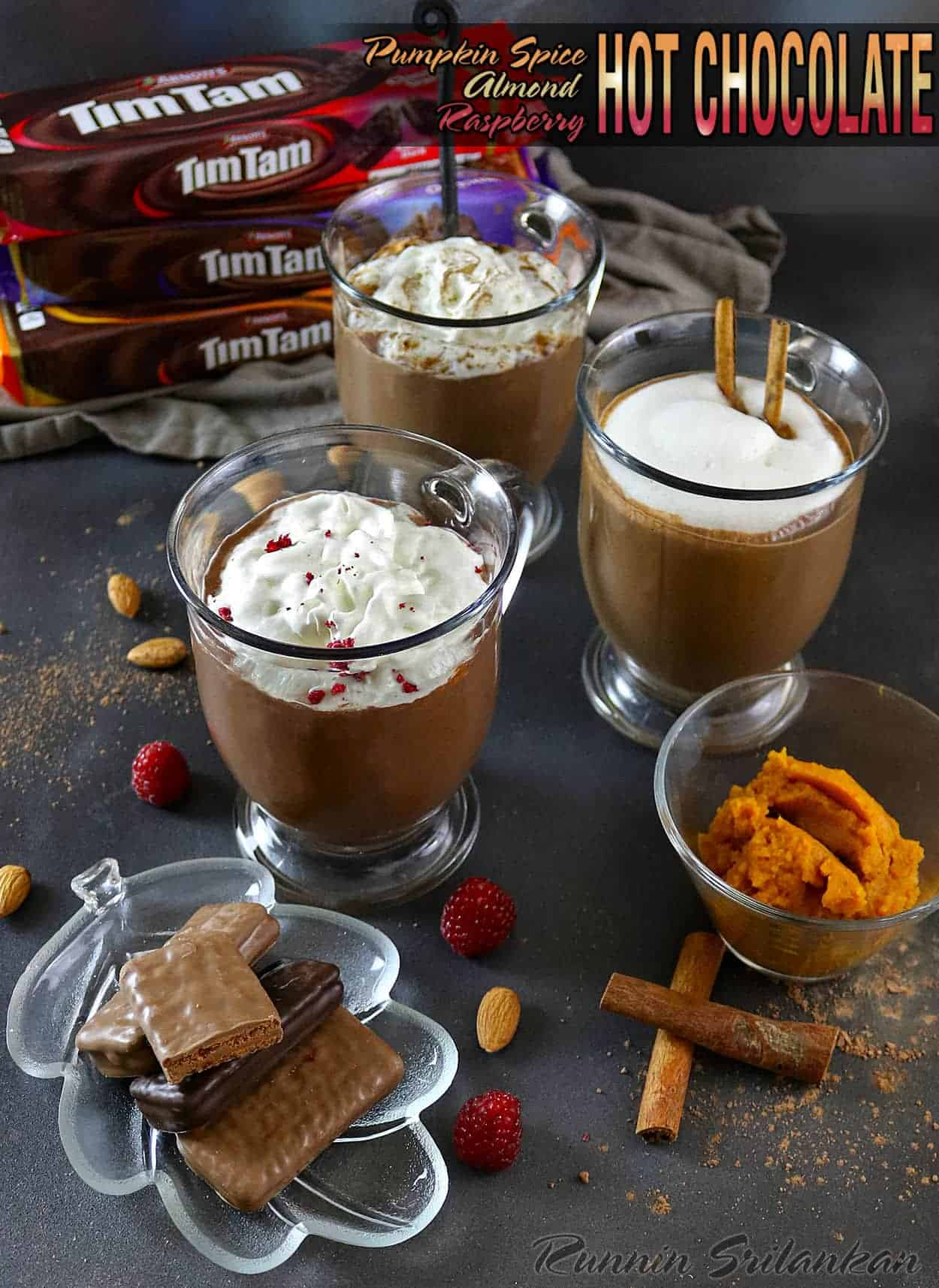 Pumpkin Spice, Almond, & Raspberry Hot Chocolates perfect with Tim Tams #ad #TimTamFriends