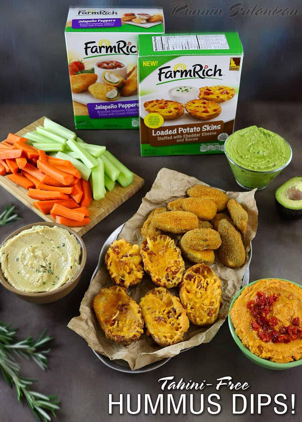 Tahini-Free Hummus Dips - 3 kinds: Avocado & Spinach Hummus, Sundried Tomato Hummus, and Rosemary & Garlic Hummus. Recipes at RunninSrilankan.com