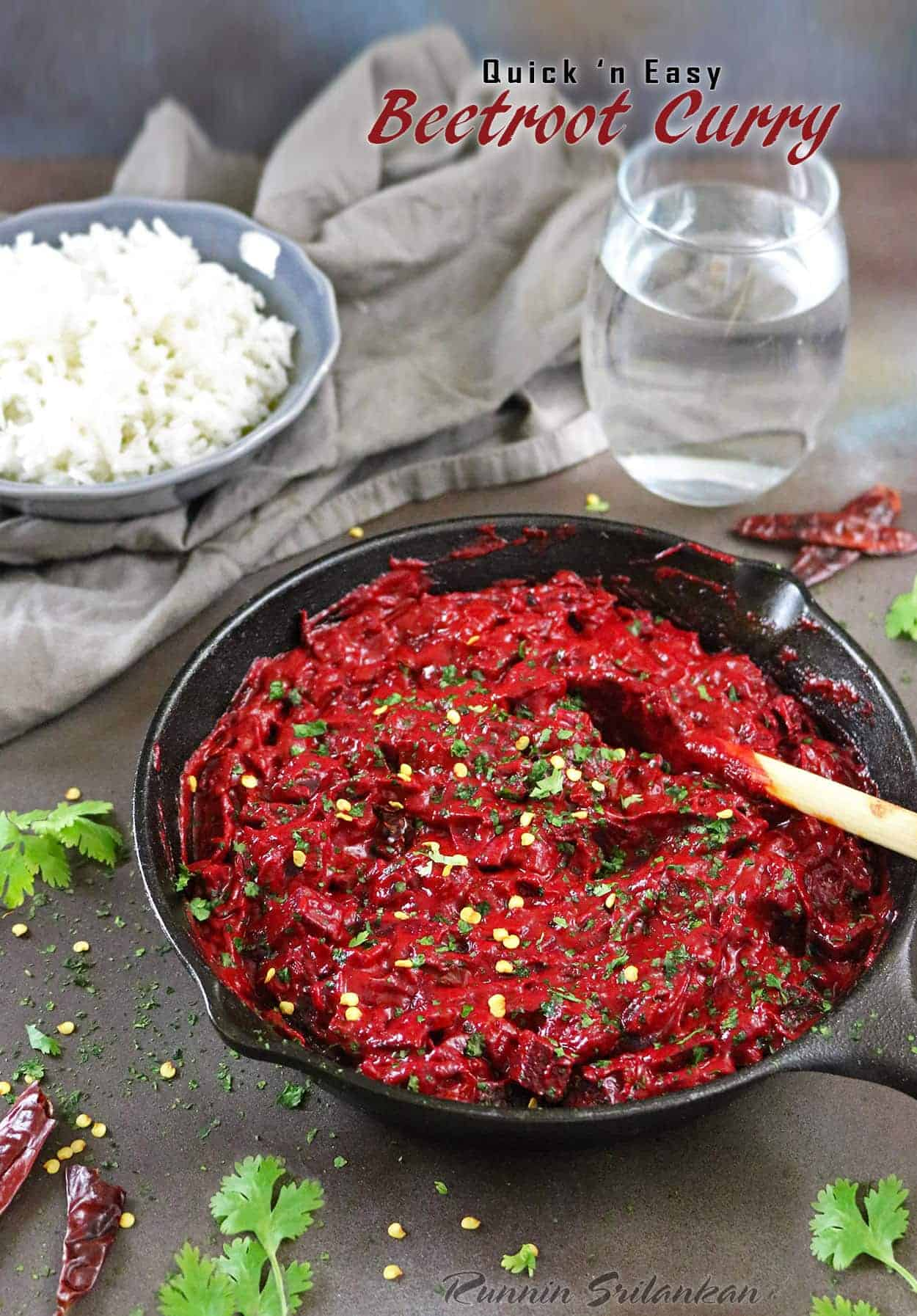 Quick And Easy Beetroot Curry with coconut milk making it velvety smooth. Recipe at RunninSrilankan.com