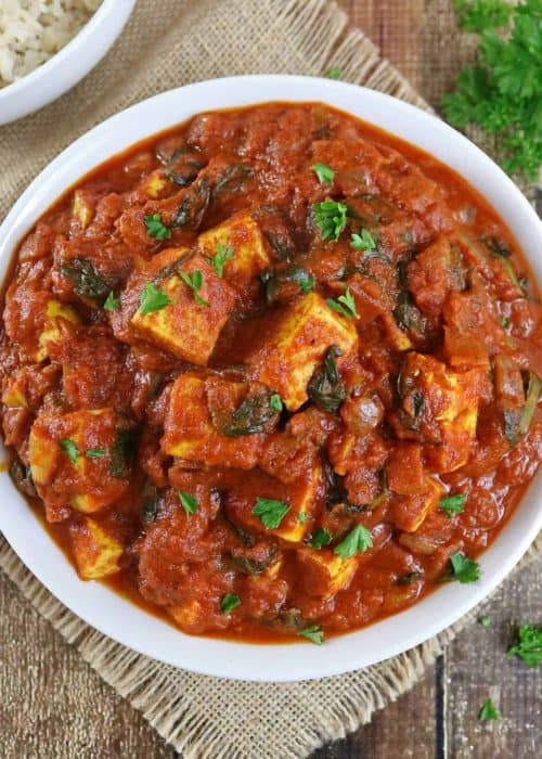 Pan Fried Tofu Curry with Tomatoes And Spinach