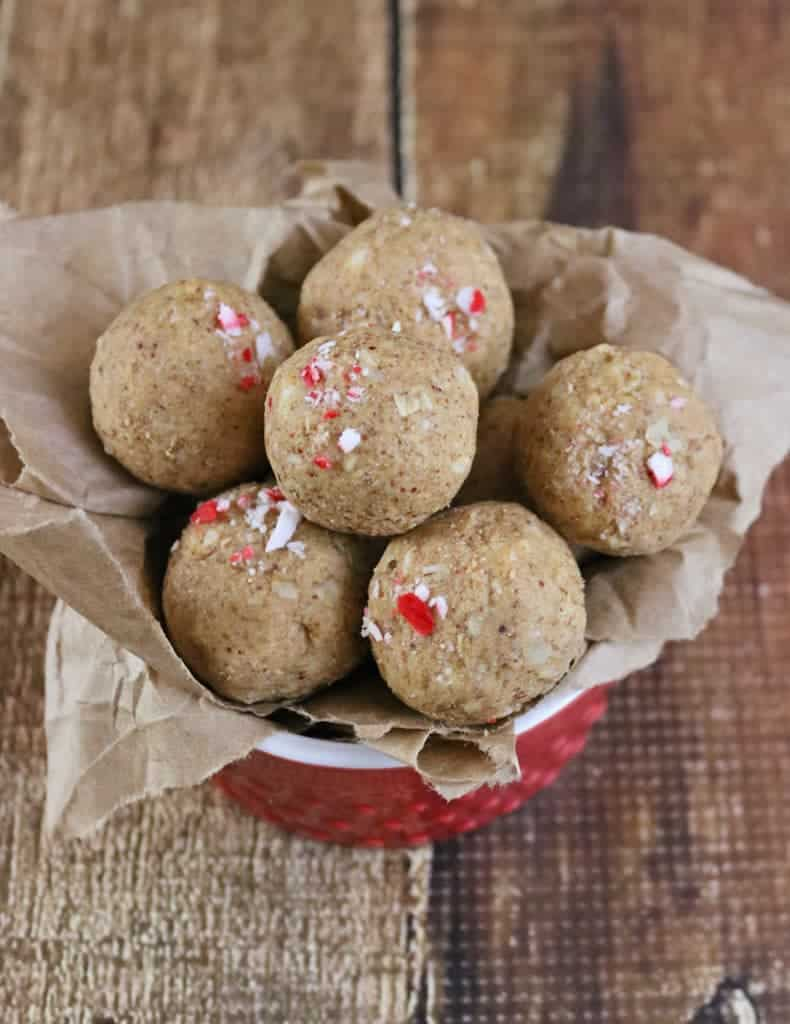 Peppermint White Chocolate Protein Bites