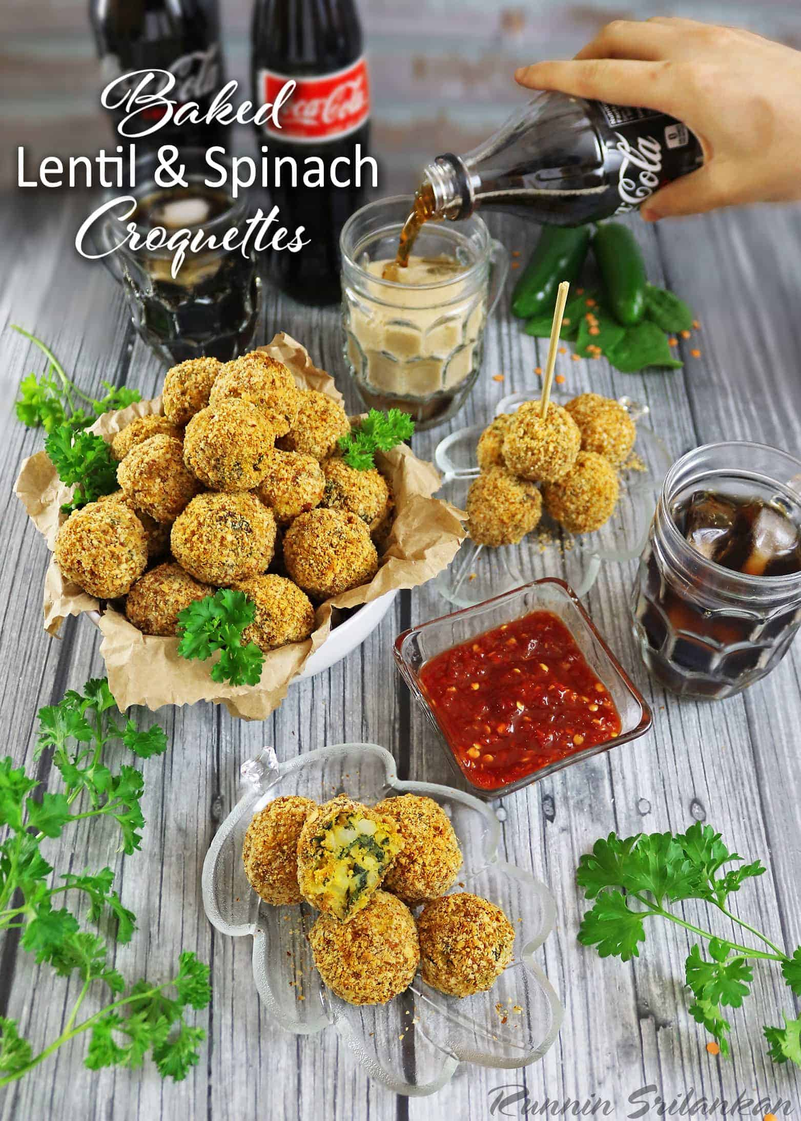 Baked Lentil Spinach Croquettes