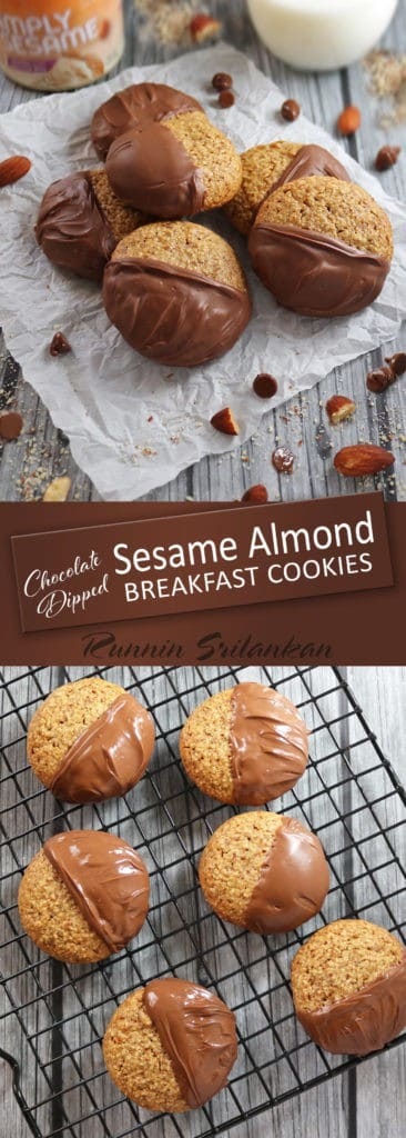 Chocolate Dipped Sesame Almond Breakfast Cookies