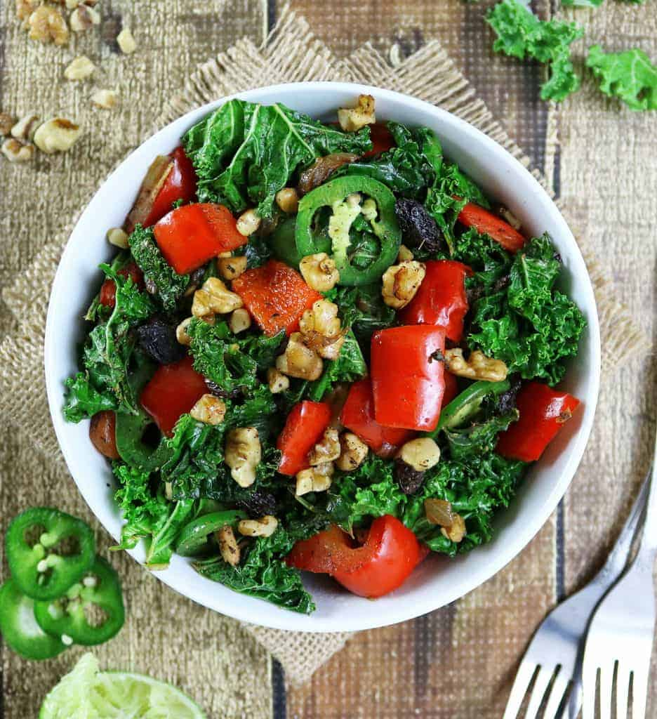Peppered Kale Raisin Sauteed Salad with Campbell's Well Yes!™ #WellYesMoment