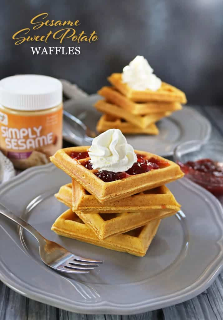 Easy Sesame Sweet Potato Waffles
