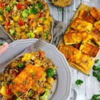 Turmeric Salmon • Warm Veggie Quinoa Salad • Blueberry Oatmeal Cookies