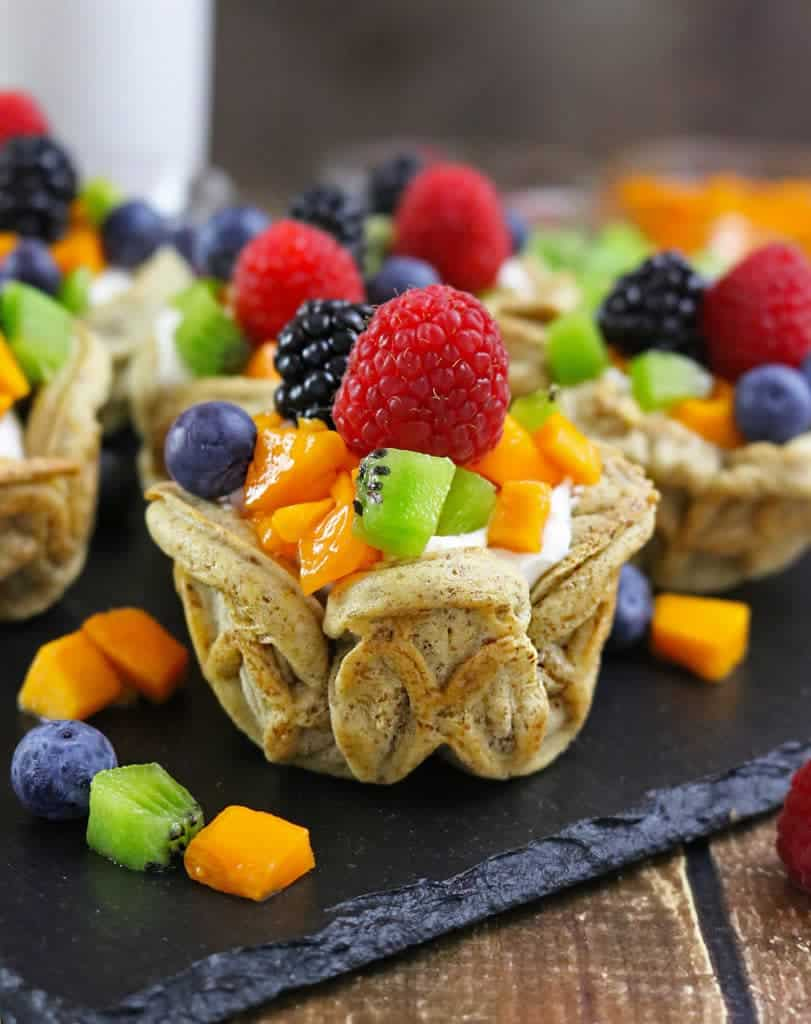 Fruity Easy Waffle Cups with Vanilla Cardamom Coconut Cream