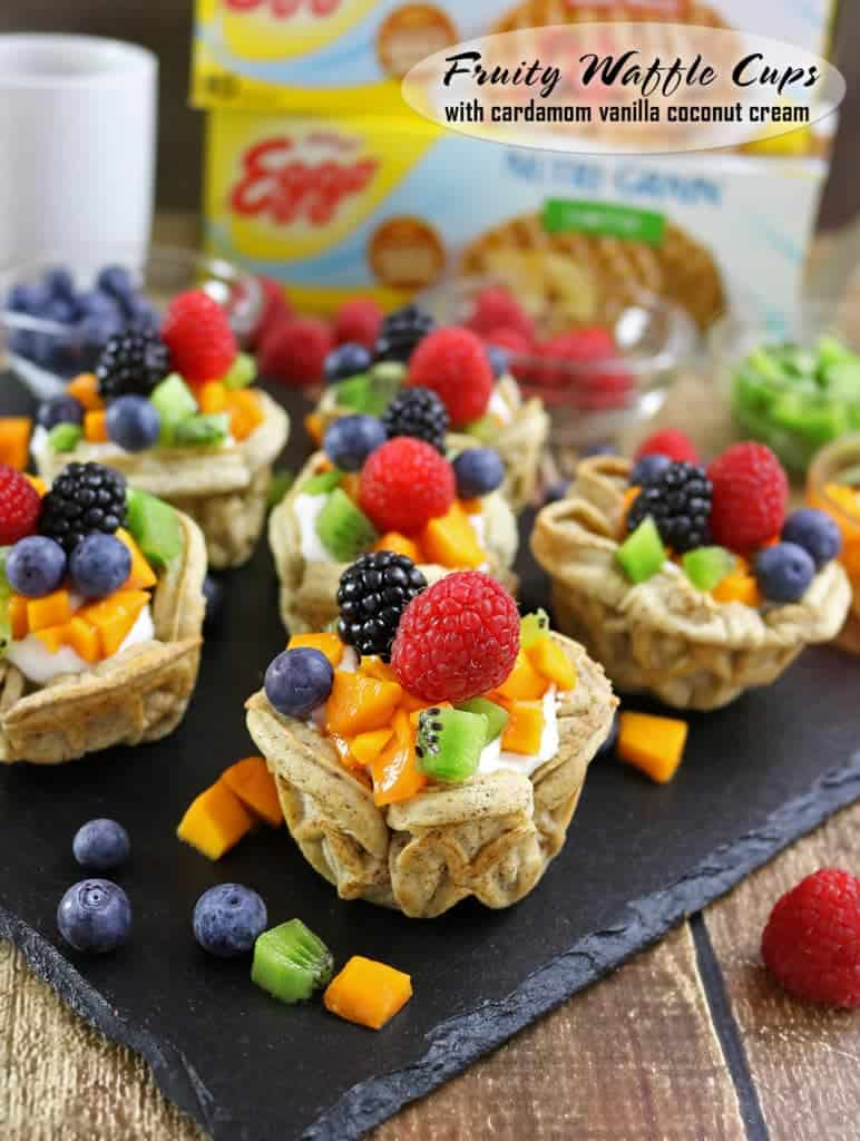 Fruity Waffle Cups with tasty Vanilla Cardamom Coconut Cream