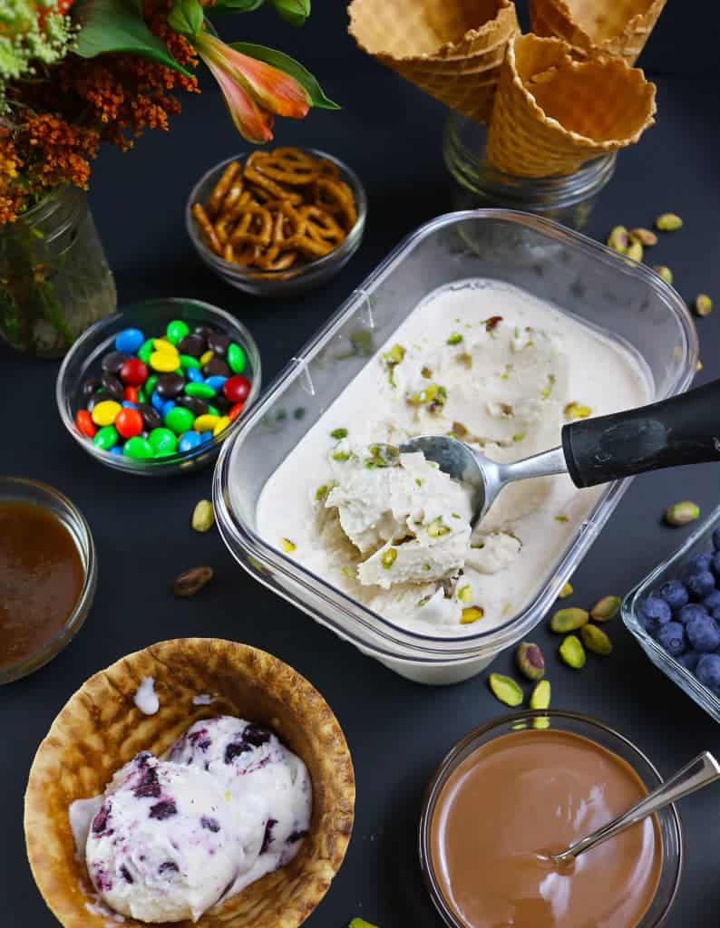 No-Churn, Dairy-FreePistachio-Cinnamon Ice Cream Movie Night Party