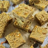 Refined Sugar Free Blender Carrot Cake Breakfast Bars