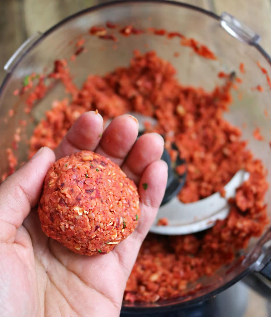 Gather Beet Burger Mix Into A Ball