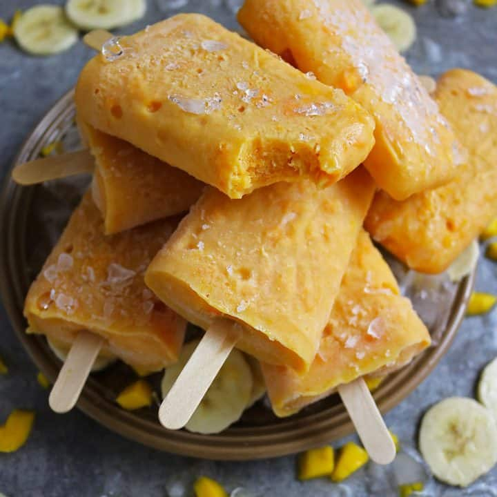 Mango And Banana Protein Popsicles