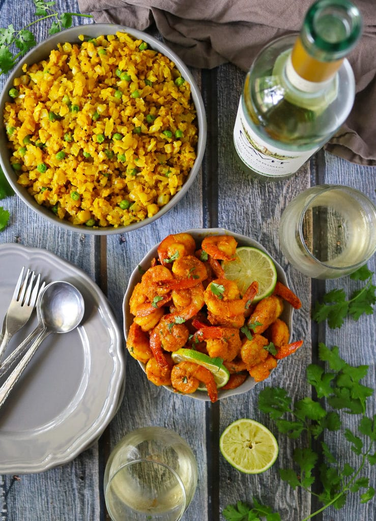 Creamy Spiced Lime Shrimp Cauliflower Rice