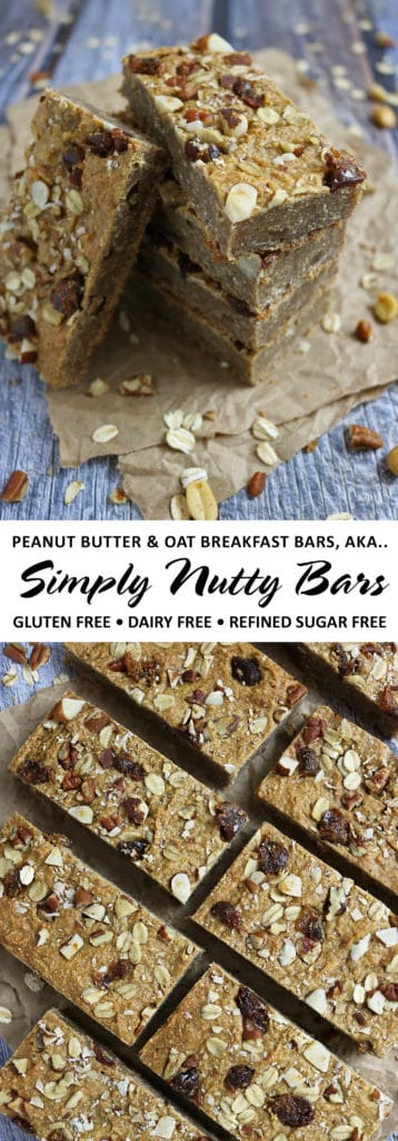 Peanut Butter Oat Breakfast Bars AKA Simply Nutty Bars - Gluten Free, Dairy Free and Refined Sugar Free