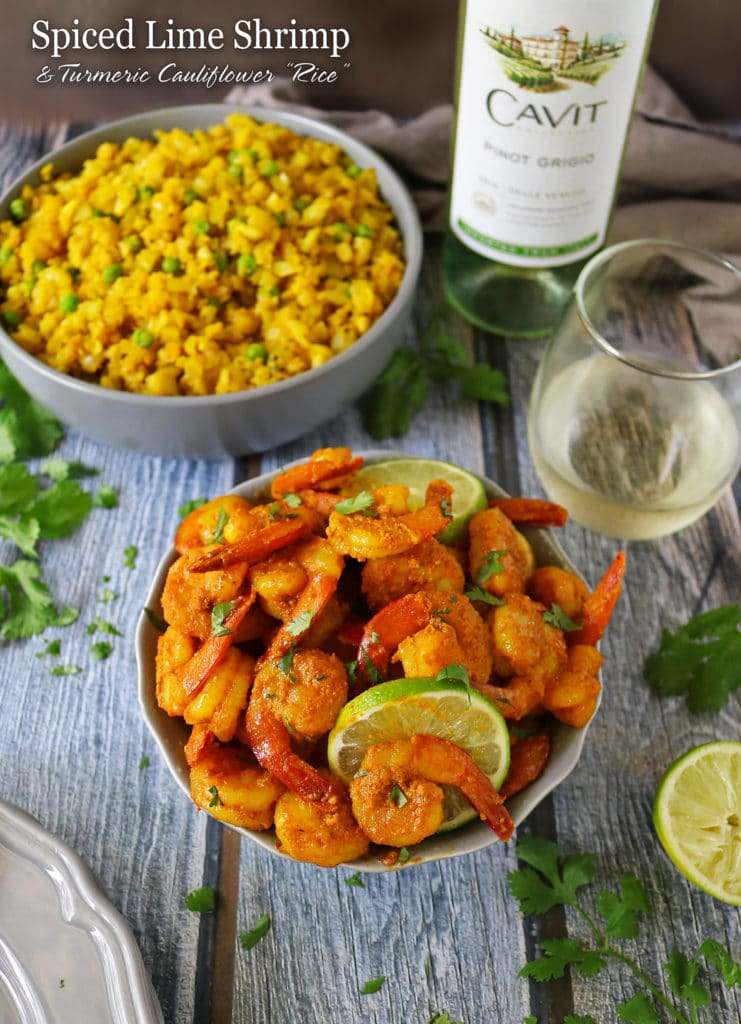 Spiced Lime Shrimp And Turmeric Cauliflower Rice