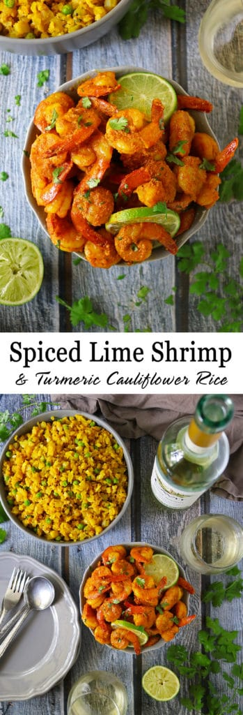 Spiced Lime Shrimp And Turmeric Cauliflower Rice With Cavit Pinot Grigio