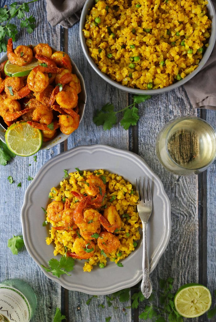 Spiced Lime Shrimp Turmeric Cauliflower Rice