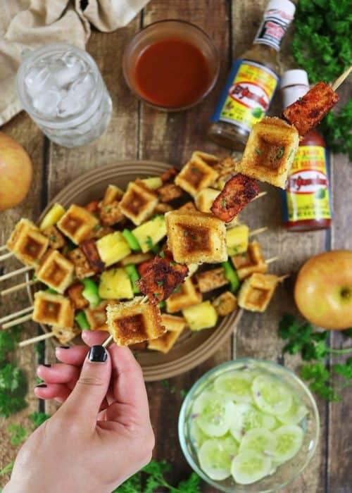 Pan Fried Tofu And Waffle Skewers