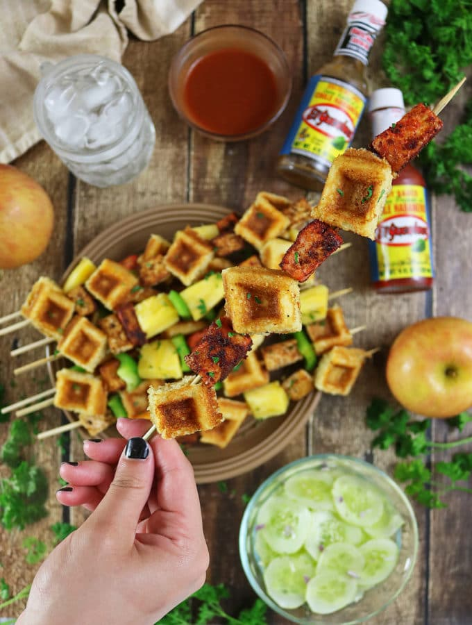 Pan Fried Tofu And Waffle Skewers with El Yucateco® Hot Sauce