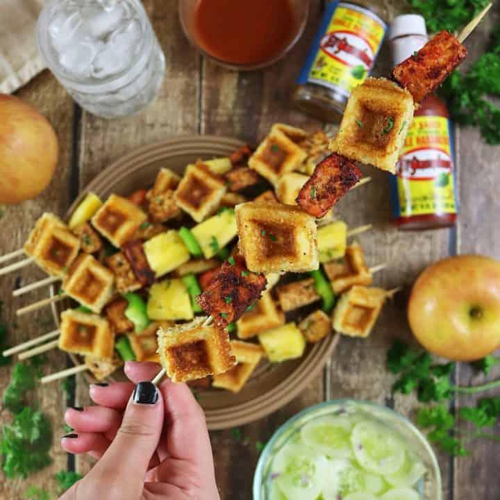 Waffles And Pan Fried Tofu Skewer
