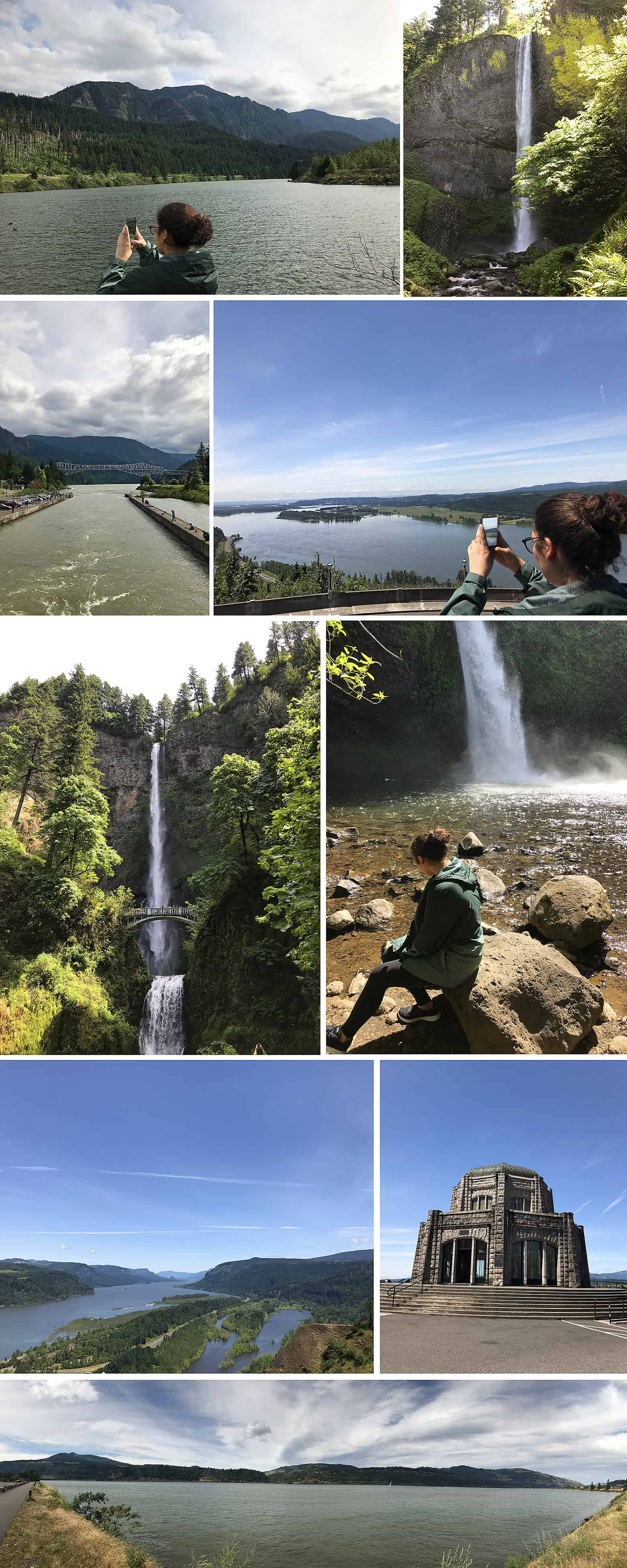 Multnomah Falls and other waterfalls with Gorge Views