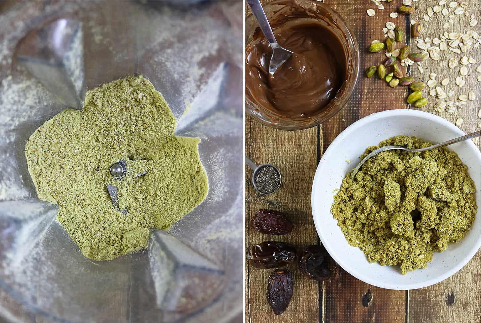 Pistachio Chocolate Bites Preparation - step 1 and step 2
