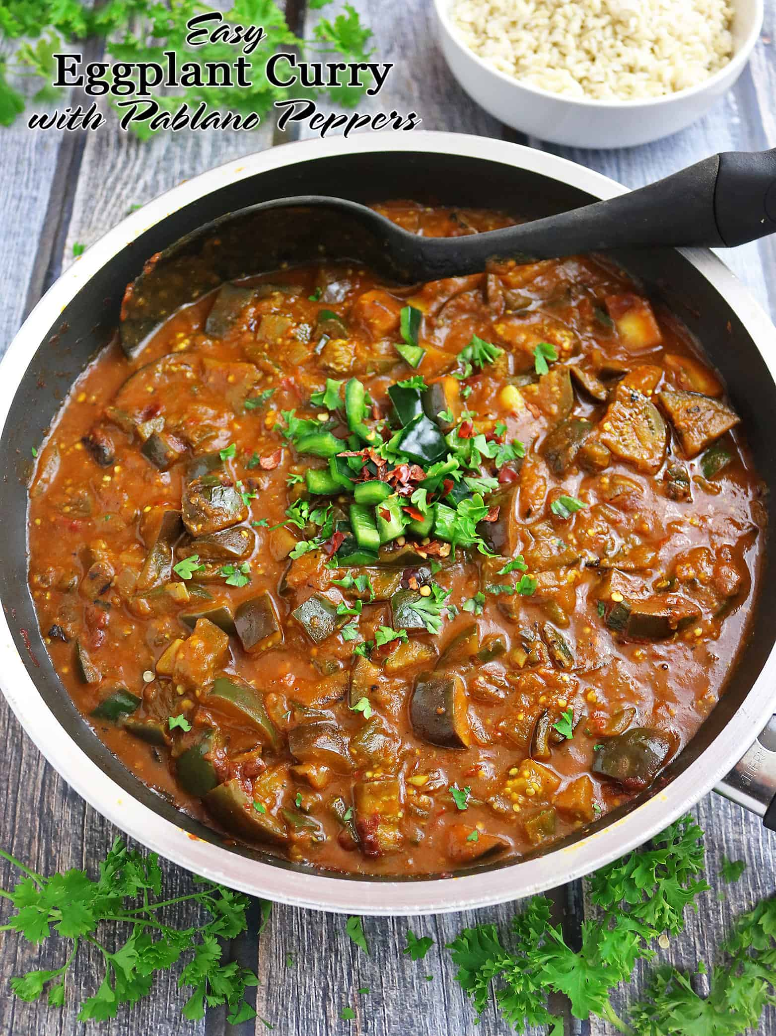 Easy Eggplant Curry With Pablano peppers