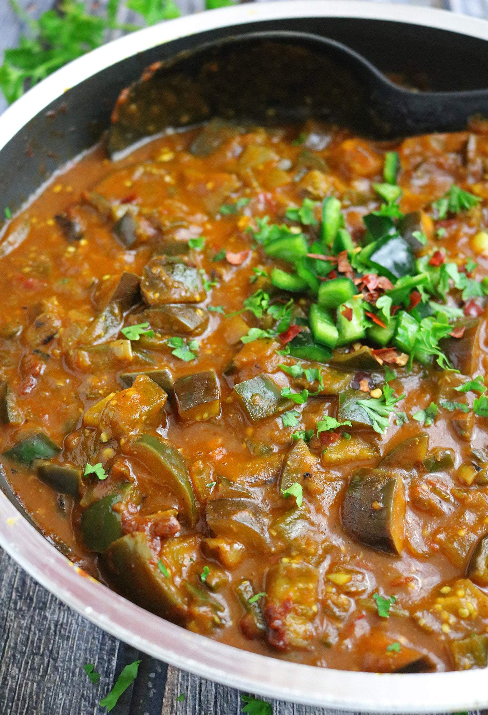 Hearty and Easy Eggplant Poblano Pepper Curry (Vegan)