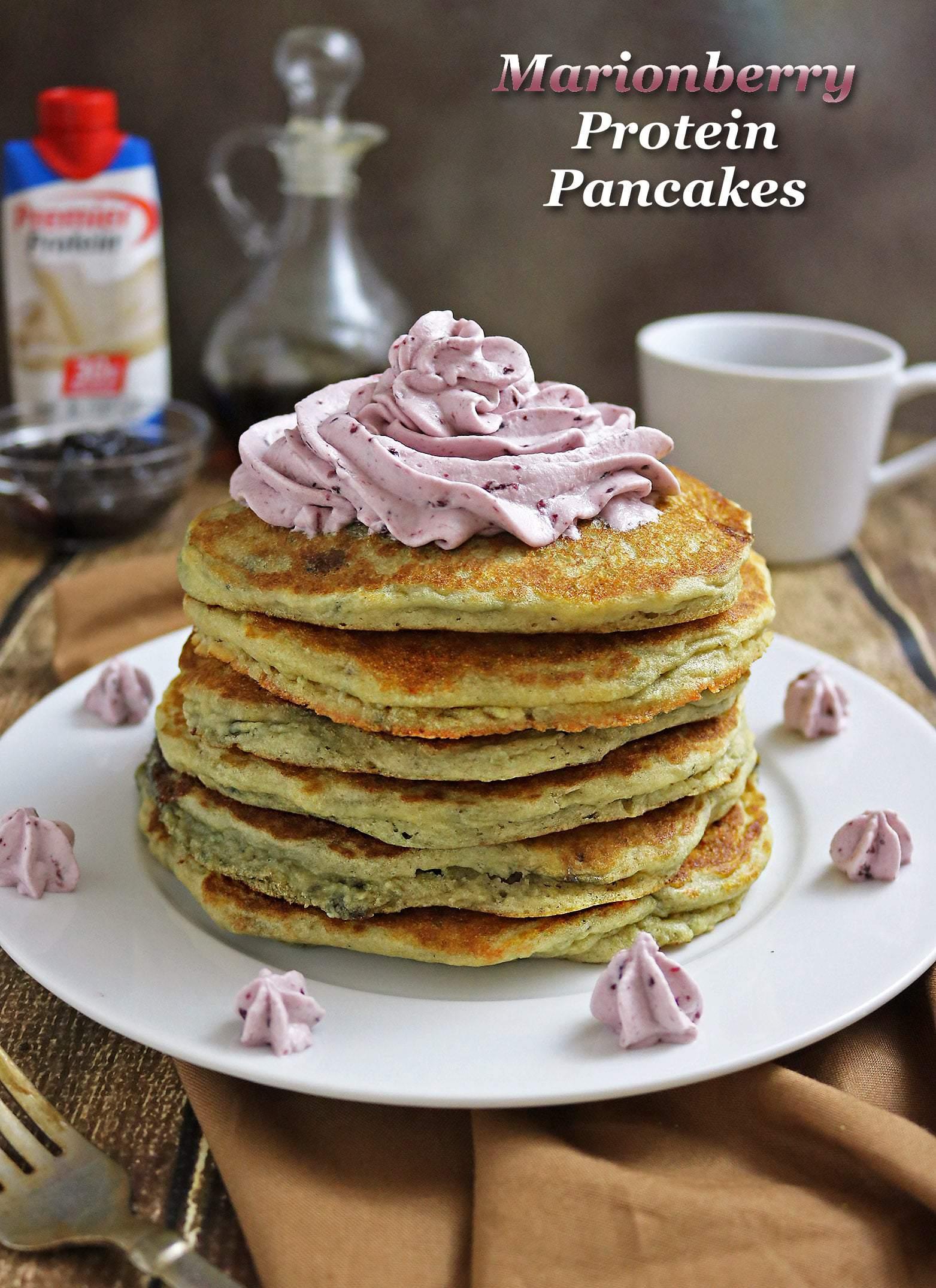 Easy Marionberry Protein Pancakes