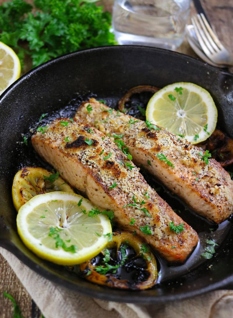 Gluten Free Almond Encrusted Lemon Salmon