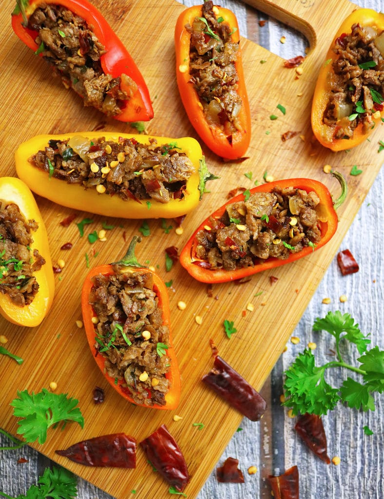 Stuffed Sweet Peppers with Garam Masala Spiced Grillers