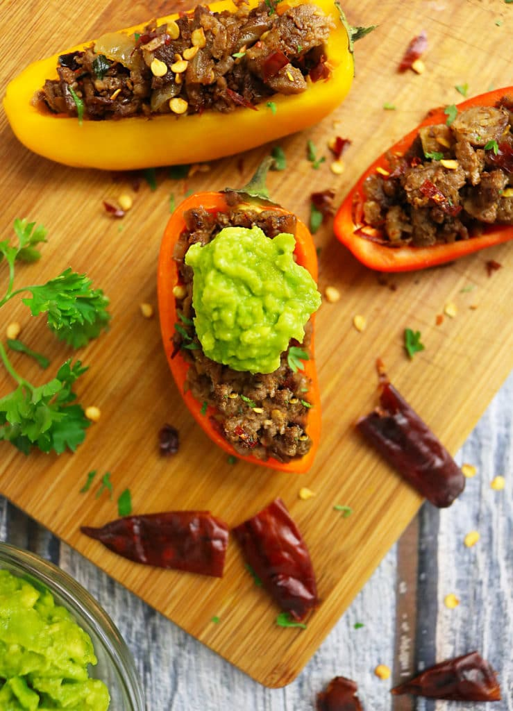 Sweet Peppers stuffed with Spiced Grillers