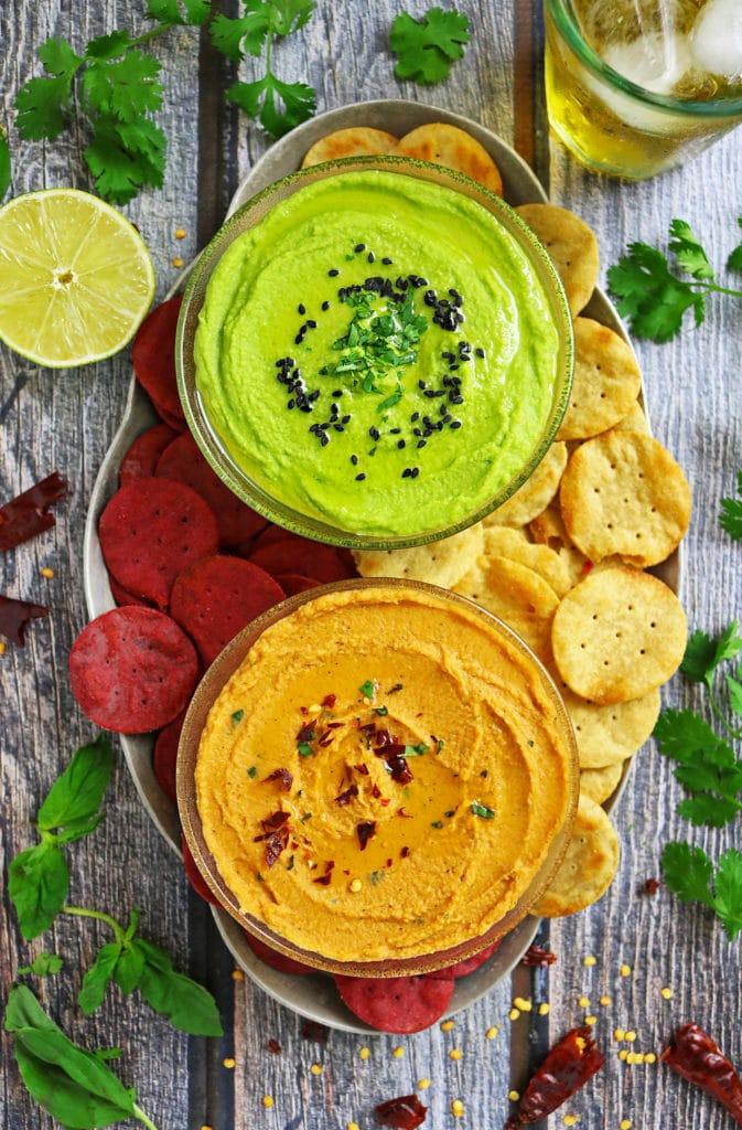 Green Goddess & Tomato Basil Hummus