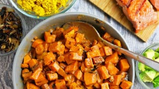 Spicy & Sweet Miso Glazed Sweet Potatoes