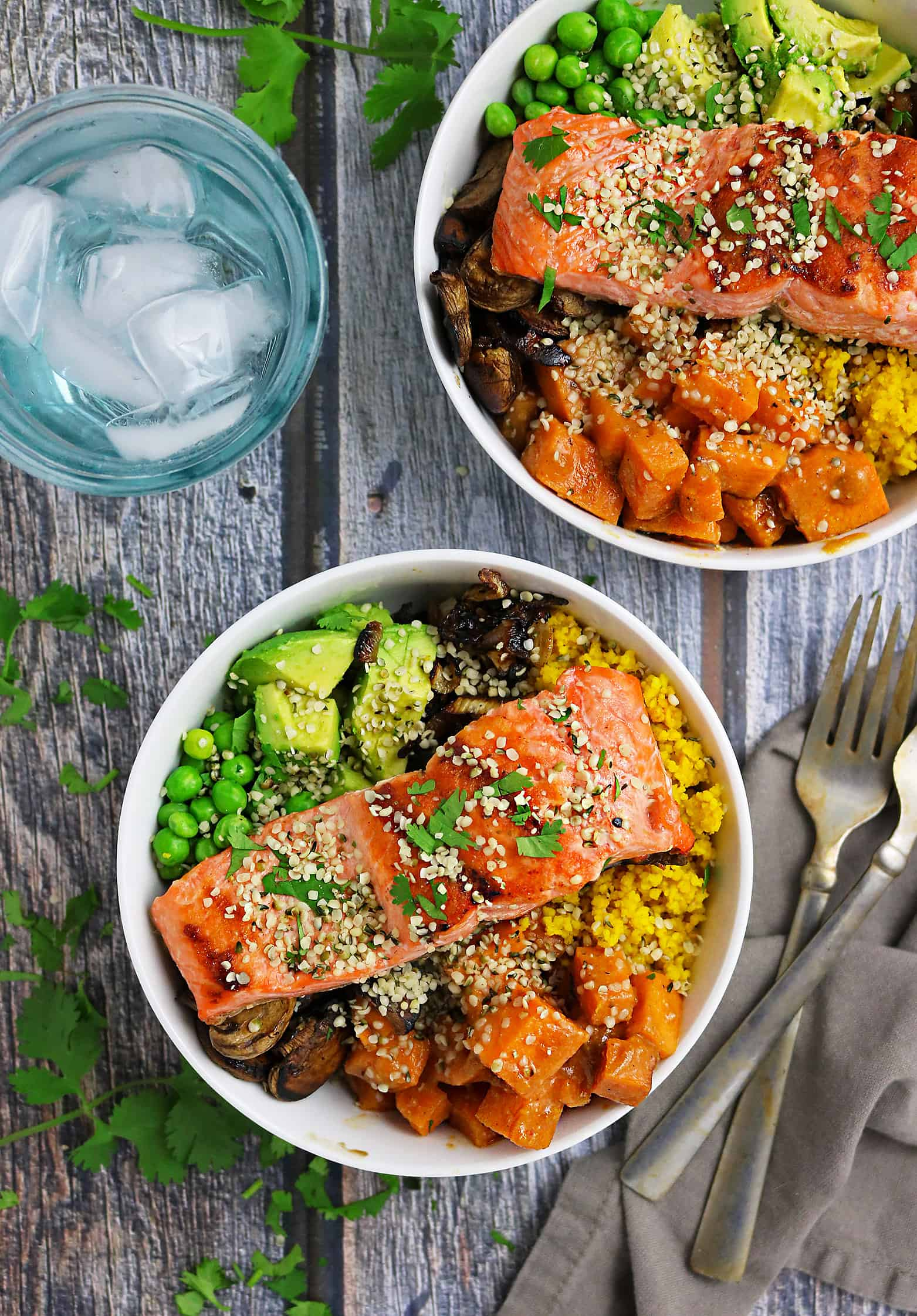 Spicy Sweet Miso Glazed Sweet Potato And Salmon Bowls