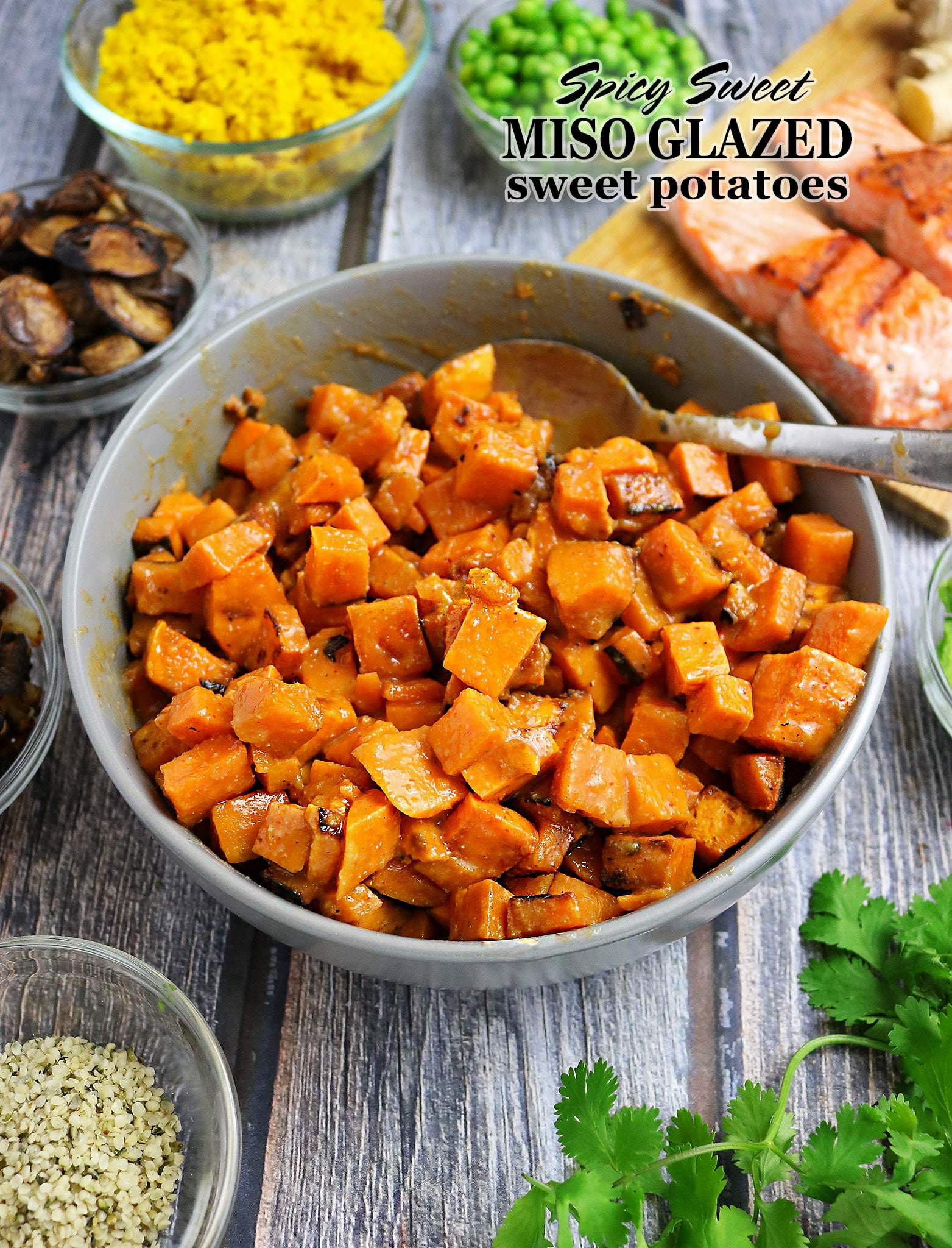 Spicy Sweet Miso Glazed Sweet Potatoes Bowls